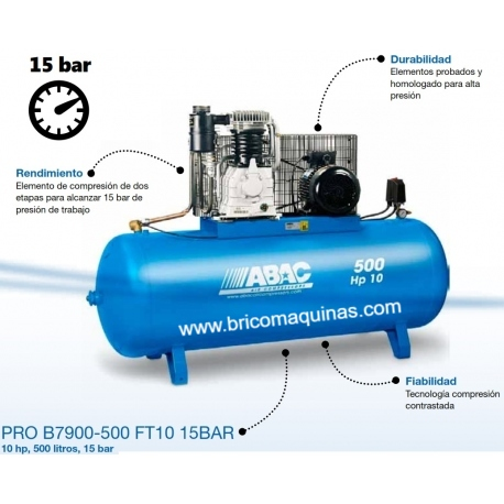COMPRESOR 15 BAR ABAC 10 HP 500 LITROS.