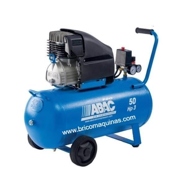 Compresor Abac Montecarlo L30P de 3 hp depósito de 50 litros. Ideal para trabajos intensivos de bricolaje y montadores de muebles, puertas, etc.