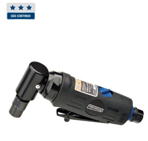 """Amoladora angular de 1/4"""" ligera, fácil manejo y operación. Empuñadura ergonómica para un agarre eficaz y agradable. Salida de aire trasera con silenciador, solo 77 dB(A). Entrada de aire giratoria. Selector de velocidad, regulación en función de las aplicaciones. PINZA: 6 MM CAPACIDAD: 25 MM POTENCIA: 350 W 20.000 R.P.M. CONSUMO L.P.M: 113 LONGITUD: 165 MM ENTRADA DE AIRE: 1/4"""" MANGUERA RECOMENDADA: 3/8"""" (10 mm) PESO: 0,5 KG"""