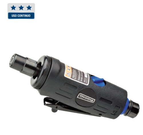 """Amoladora recta de 1/4"""" ligera, fácil manejo y operación. Empuñadura ergonómica para un agarre eficaz y agradable. Incorpora regulador de velocidad. Salida de aire trasera con silenciador, solo 77 dB(A). Entrada de aire giratoria. PINZA: 6 MM CAPACIDAD: 25 MM POTENCIA: 350 W 25.000 R.P.M. CONSUMO L.P.M: 113 LONGITUD: 160 MM ENTRADA DE AIRE: 1/4"""" MANGUERA RECOMENDADA: 3/8"""" (10 mm) PESO: 0,4 KG"""
