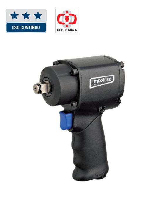 """Pistola de impacto mini 1/2"""" potente y compacta para trabajos reducidos. Empuñadura ergonómica para un agarre eficaz y agradable. Incluye selector de velocidad. Llave de impacto con regulación en función de las aplicaciones. CAPACIDAD MAXIMA: M14 TRABAJO Par Nm: 35-400 Par Nm MAXIMO: 675 AFLOJE Par Nm: 1300 10.000 R.P.M. CONSUMO L.P.M: 113 LONGITUD: 120 MM ENTRADA DE AIRE: 1/4"""" SALIDA DE AIRE: INFERIOR MANGUERA RECOMENDADA: 3/8"""" PESO: 1.5 KG"""