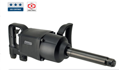 """Llave de impacto de 1"""" potente y fiable. Gatillo integrado en la empuñadura, protegido y con fácil accionamiento. Empuñadura adicional para una cómoda utilización. Protección exterior en pintura epoxy. Selector de velocidad. Con el eje largo que facilita la operación. CAPACIDAD MAXIMA: M42 TRABAJO Par Nm: 540-2550 Par Nm MAXIMO: 3400 AFLOJE Par Nm: 3797 5.000 R.P.M. CONSUMO L.P.M: 282 LONGITUD: 527 MM ENTRADA DE AIRE: 1/2"""" SALIDA DE AIRE: INFERIOR MANGUERA RECOMENDADA: 1/2"""" PESO: 10,9 KG"""